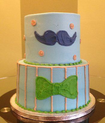 Li'l Man Tiered Cake - Blue & Tan
