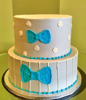 Li'l Man Tiered Cake - Grey & Aqua