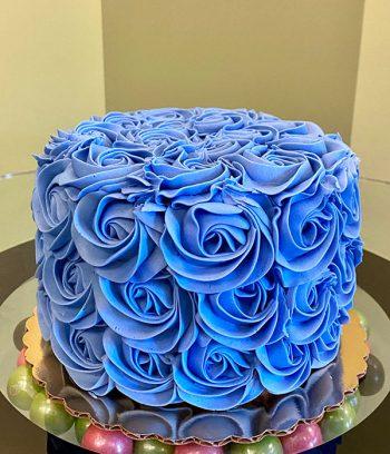 Rosette Layer Cake - Blue