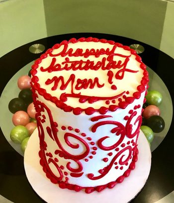 Scroll Dot Layer Cake - Red