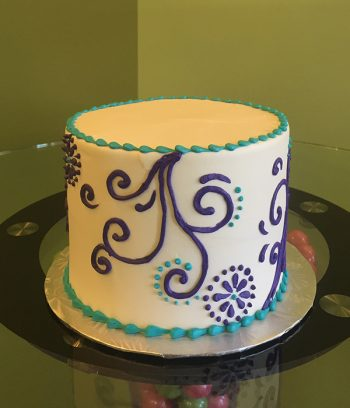 Scroll Dot Layer Cake - Purple & Turquoise