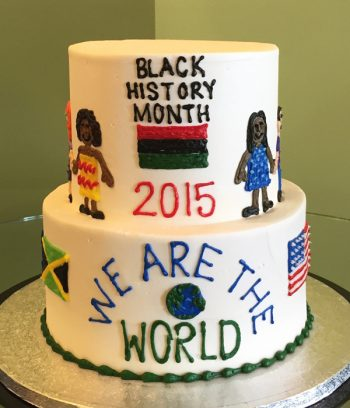 We Are The World Tiered Cake - Back