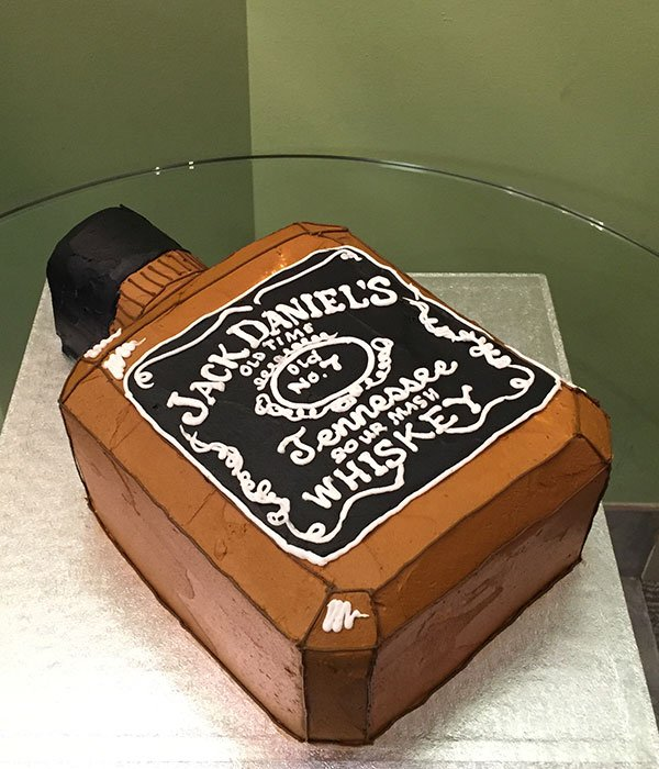 Whiskey Bottle Shaped Cake