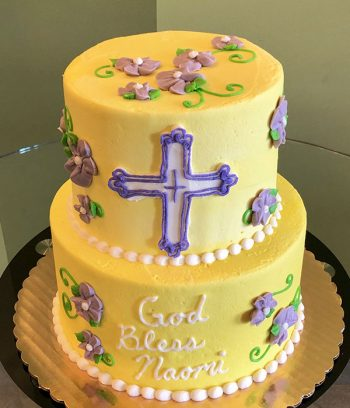 Baptism Tiered Cake - Yellow