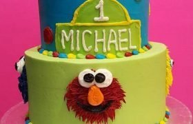 Sesame Street Character Tiered Cake - Blue & Green