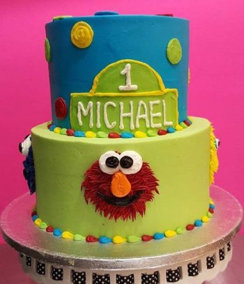 Sesame Street Tiered Cake - Blue & Green Front