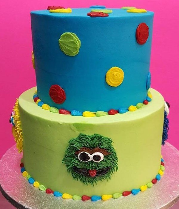 Sesame Street Tiered Cake - Blue & Green Side
