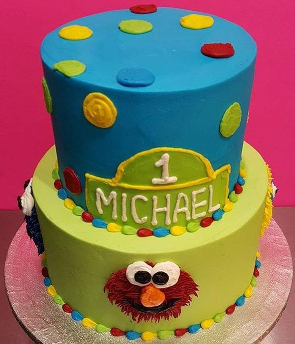 Sesame Street Tiered Cake - Blue & Green Top