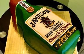 Whiskey Bottle Shaped Cake - Jameson