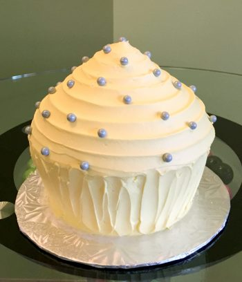 Giant Cupcake Cake - Yellow & Grey