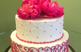 Quilted Scroll Tiered Cake - Fuchsia