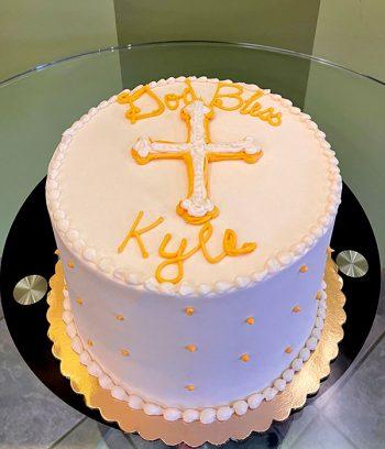 Baptism Layer Cake - White & Yellow