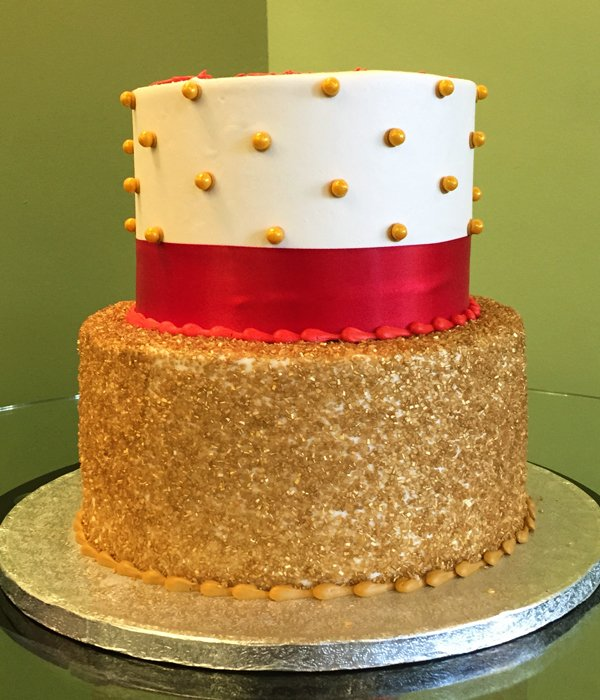 Glitter Pearl Button Tiered Cake