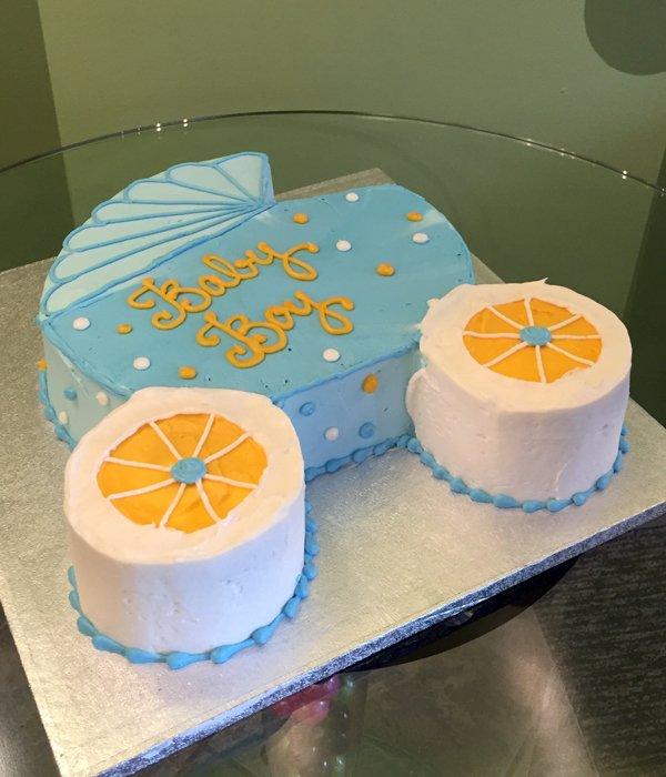 Baby Carriage Cake - Blue & Orange
