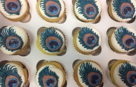 Peacock Feather Decorated Cupcakes