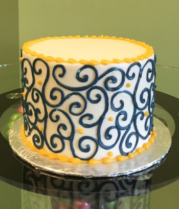 Scroll Layer Cake - Blue & Yellow