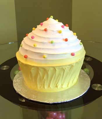 Giant Cupcake Cake - Yellow & White