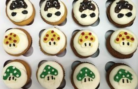 Mushroom Decorated Cupcakes