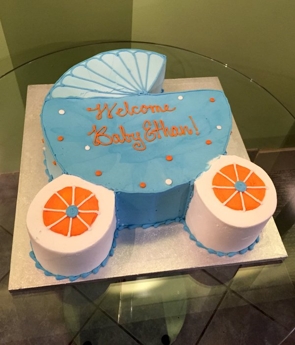 Baby Carriage Cake - Blue & Dark Orange