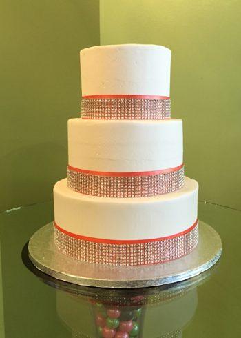 Crystal Ribbon Wedding Cake - Red