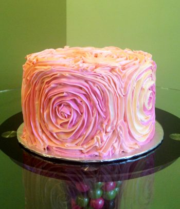 Giant Rosette Layer Cake - Pink & Orange