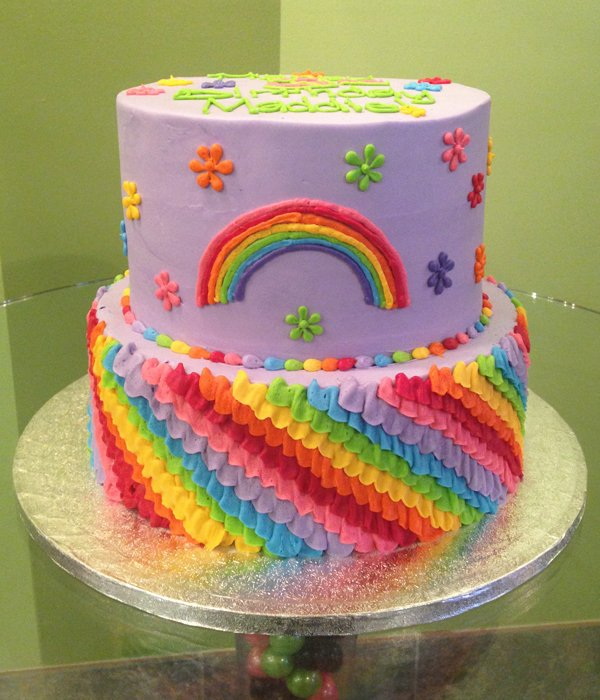 Rainbow Ruffle Tiered Cake