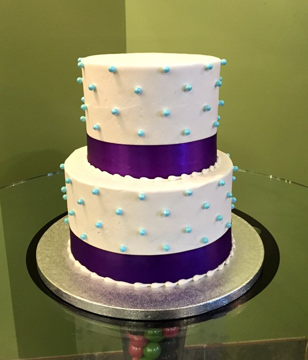 Sugar Pearl Ribbon Tiered Cake - Blue & Purple