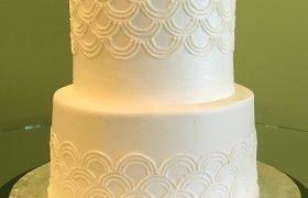 Art Deco Tiered Cake - White