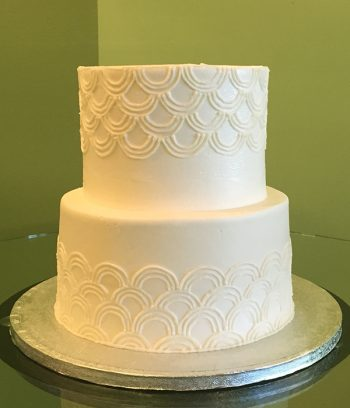 Art Deco Tiered Cake - White