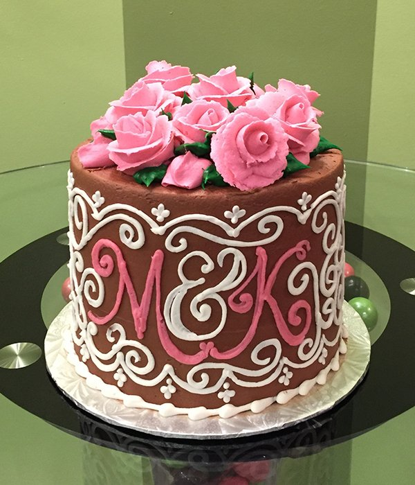 Grace Monogram Layer Cake - Chocolate & Pink