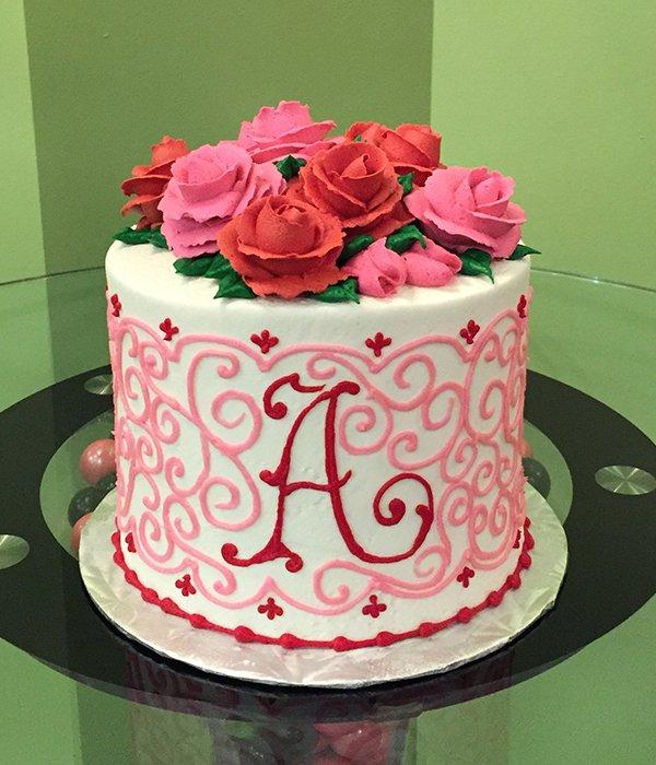 Grace Monogram Layer Cake - Pink & Red