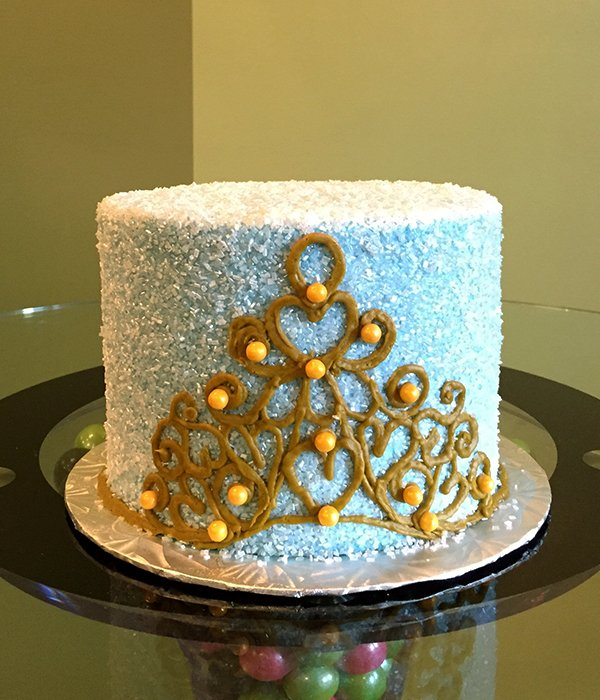 Princess Tiara Layer Cake - Blue & Gold