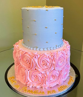 Rosette Dot Tiered Cake - Blue & Pink