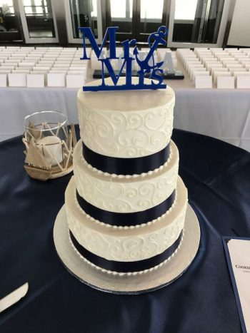 Discovery World Milwaukee Scroll Ribbon Wedding Cake - Wedding Cake Venue Gallery