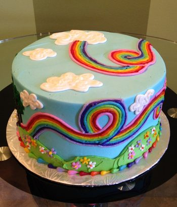 Rainbow Garden Layer Cake - Back