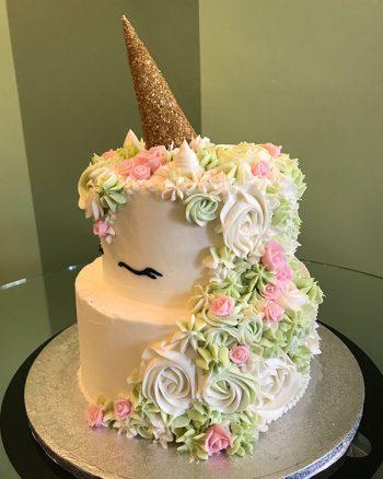 Unicorn Tiered Cake - Blush Pink & Green Ivory