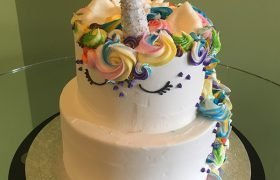 Unicorn Two Tier Cake - Bright - Front