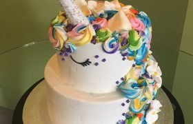 Unicorn Tiered Cake - Bright - Side