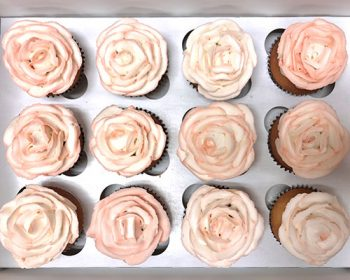 Assorted Flower Cupcakes - Blush Pink Rose