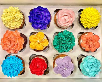 Assorted Flower Cupcakes - Bright Rainbow