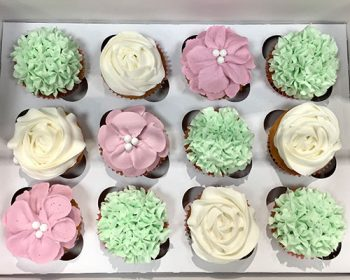 Assorted Flower Cupcakes - Mint, Purple & White