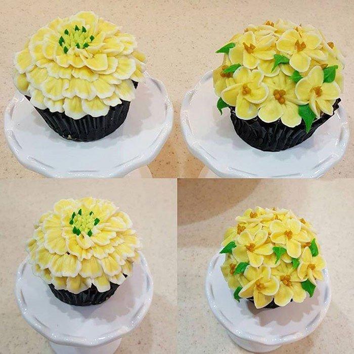 Assorted Flower Jumbo Filled Cupcake - Yellow