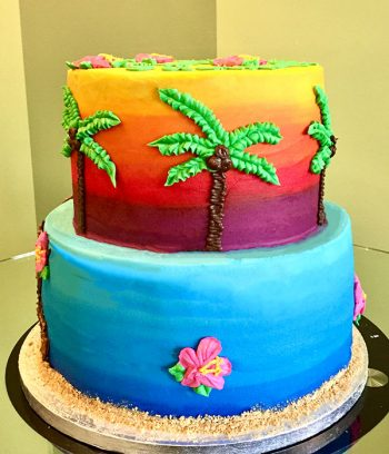 Tropical Tiered Cake - Bright Ombre