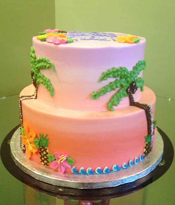 Tropical Island Birthday Cake
