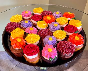 Assorted Flower Cupcake Party Tray - Bright Colors