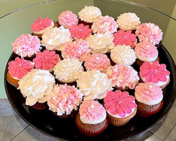 Assorted Flower Cupcake Party Tray - Shades of Pink & White