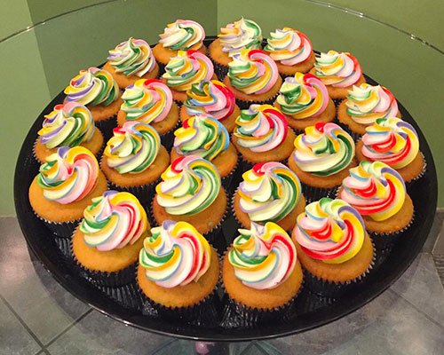 Decorated Cupcake Party Tray - Rainbow Swirl