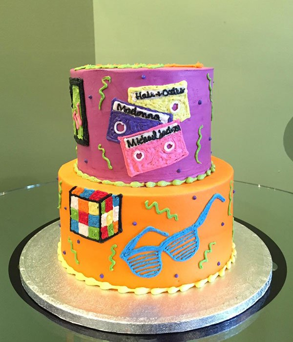 Totally 80's Tiered Cake - Side