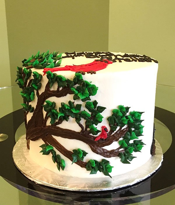Cardinal In A Tree Layer Cake Classy Girl Cupcakes