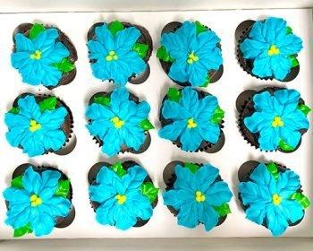 Tropical Flower Cupcakes - Aqua Blue